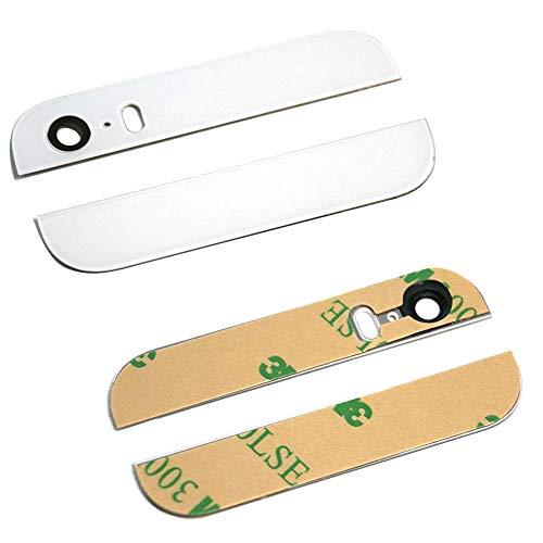 MMOBIEL Tapa/Carcasa Trasera Compatible con iPhone 5 5G (Blanco) -la Parte Superior e Inferior de Cristal Negro con Lente de cámara y Flash pre Instalado y Pegatinas Adhesivas 3M