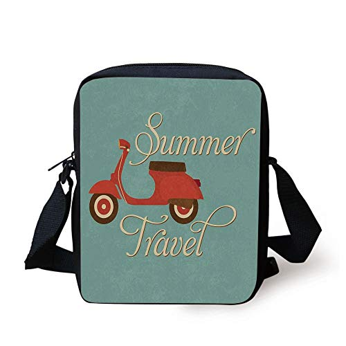 1960s Decorations,Summer Travel Scooter Vacation Vespa Classic Wheels Rock Cool Cycle Hippy Motorbike Design Decorative, Print Kids Crossbody Messenger Bag Purse