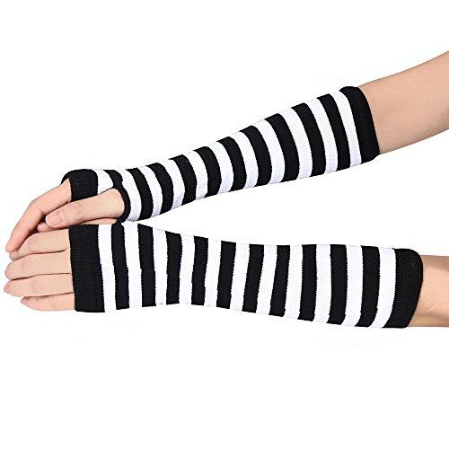 TONSEE Damen Baumwolle Armstulpen Stripe Fein Strick lang Fingerless Pulswärmer Handwärmer Stulpen (Weiß)