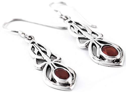 Windalf sieraden oorbellen hoed 2,9 cm Celtic rode kristal 925 sterling zilver