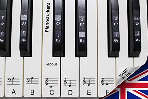 Noir Autocollant Stave Note /étiquette amovible PVC 54//61 touches Piano clavier Biginners musique d/écalque