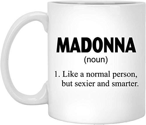 """Taza de té, color blanco, con texto en inglés """"Madonna Definition"""", taza de café personalizada, 325 ml, color blanco"""