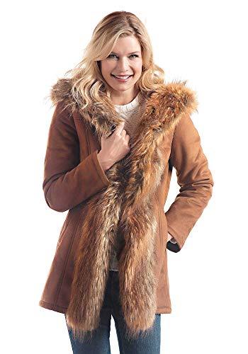 Donna Salyers' Fabulous-Furs Tobacco Faux Suede & Fur Mid-Length Hooded Coat (XL) (Tobacco) -  Fabulous Furs