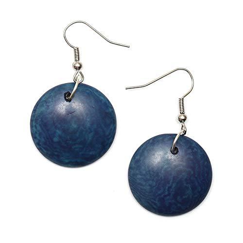 Orecchini Idin Tagua - scuro blu, Round Tagua vetro (Pietra simandra) (circa 4,5 cm)