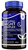 Natural Night Complex– with Lemon Balm, Chamomile, 5HTP, L-Theanine, Magnesium, Vitamin B12 – for Normal Function of The Nervous System –120 Vegan Capsules – 4 Month Supply – Made in UK by Nutravita