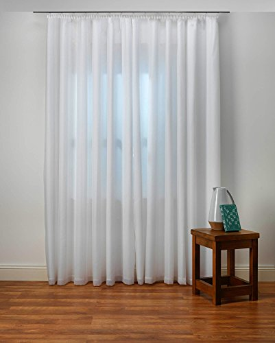 Weiße Gardine nach Maß, maßgeschneidert, Store Webstore, halbtransparent, Kräuselband, Vorhang nach Maß, Vorhänge, Gardinen, Maßanfertigung, Höhe: 90 – 295 cm (Stoffmuster)