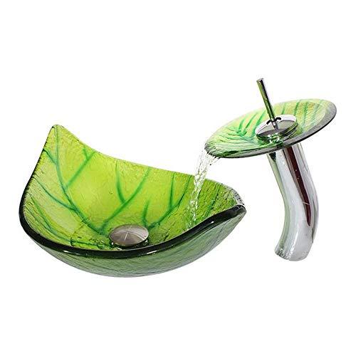 WY Blattförmiges Glaswaschbecken/gehärtetes Glaswaschbecken/grünes Waschbecken
