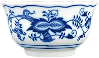 Blue Onion Traditional Porcelain Bowl | European Style Design | Handmade Quality from Bohemian region | 4.7 ounce Blue and White Decor