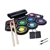 Electronic Drum Set, electrónica pad batería plegable digital batería electrónica con altavoz incorporado 2 pedales y baquetas para niños principiantes SKYJIE