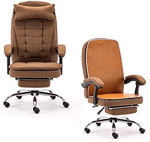 XZGDEN Leicht Gaming Stuhl Bürostuhl Aufzug Drehstuhl mit Fußstütze Armlehne Hohe Backarm Chair PC Executive Stuhl Ergonomisch Comfy Stuhl Liegestuhl (Farbe: braun)