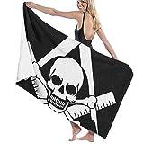 Freemason Logo Skull Head Toalla de baño Negra Toallas absorbentes Suaves de Secado rápido para Viajes Deportivos...