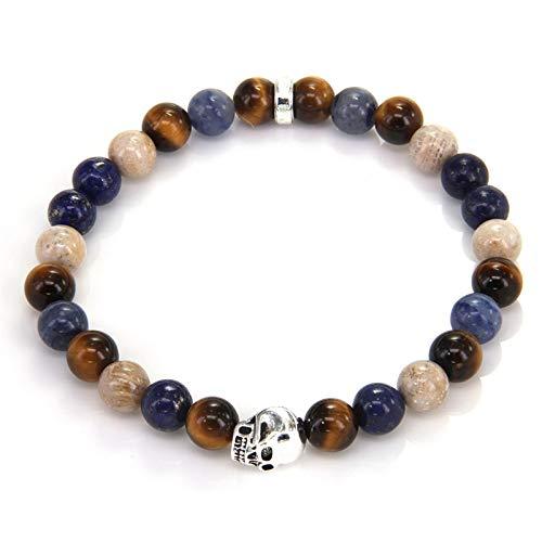 SHUWB Esposas Pulsera para Mujer-Skull Bead Pulseras Pulseras Regalo de joyería - Pulsera Trenzada con Cuentas de Piedra de Yoga Joyas Ajustables Bohemio (Length : 25cm)