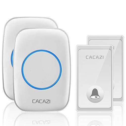 CACAZI - Timbre inalámbrico sin batería, resistente al agua con 2 botones,...