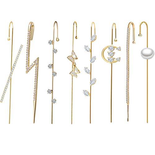 luosh Ear Cuffs Wrap Pendientes Ear Crawler Pendientes Kit de Pendientes de Gancho para Mujeres niñas San Valentín Boda