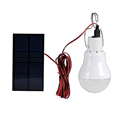 Solar LED Light Bulb, Portable Solar Powered Solar Energy Lamp Lantern 130LM (15W Equivalent) with Solar Panel for Home Emergency Lighting Outdoor Hiking Camping Fishing Tent Garden Survival Kit