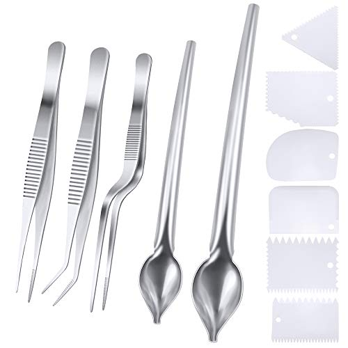 SelfTek 5 Pcs Stainless Steel Cooking Tweezers Precision Tongs with Serrated Tips,Culinary Drawing Spoons, 6 Piece Plastic Plating Wedge Set for Plates Decorating