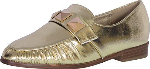 Catherine Malandrino Women's Studded Slip-On Loafer, Gold, 9 B(M) US