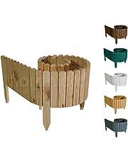 Floranica® Bordura Rollborder Recinto in Legno | srotolatile della 203 cm (accorciato) | dei paletti | Giardini | steccato | palizzata | impregnato