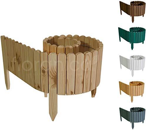 Floranica® Flexibler Beetzaun 203 cm (kürzbar) aus Holz | als Steckzaun Rollborder | Beeteinfassung | Kanteneinfassung |Rasenkante oder Palisade | Imprägniert, Höhe:20 cm, Farbe:Unbehandelt