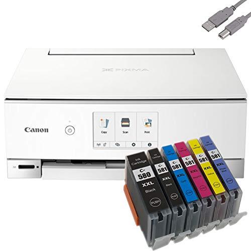 Bundle Canon PIXMA TS8351 Tintenstrahldrucker Multifunktionsgerät (Drucker, Scanner, Kopierer) mit 6 komp. Youprint® Tintenpatronen für PGI-580/CLI-581 XXL