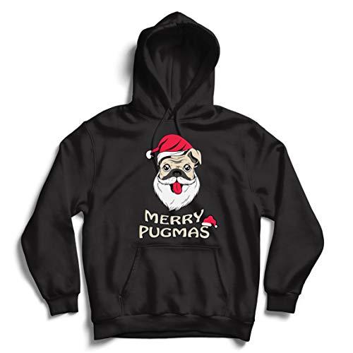 lepni.me Unisex Hoodie Vrolijke Pugmas, Grappige Kerstmis Hond Liefhebbers Gift, Gelukkig Knuffel Leven