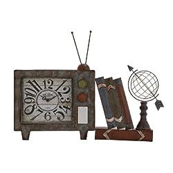 Benzara Attractive Antique Styled Metal Table Clock