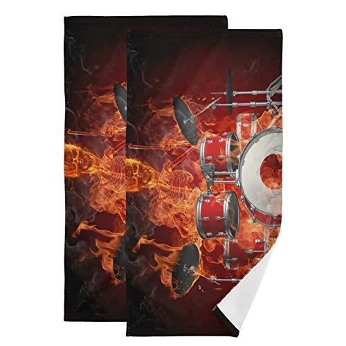 Schlagzeug-Musik-Handtuch-Set, ultraweich, saugfähig, schnelltrocknend, Handtücher für Bad, Fitness, Bad, Sport, Yoga, Reisen (2er-Pack, 71,9 x 36,6 cm)