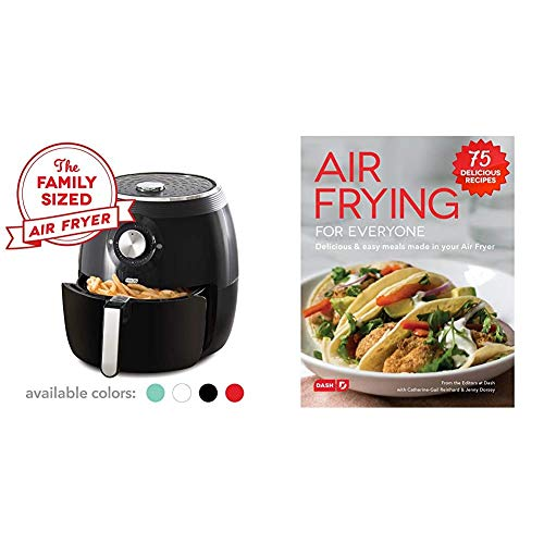 Dash Deluxe Electric Air Fryer + Oven Cooker with Temperature Control, Non Stick Fry Basket, 6qt, Black & Air Fryer Recipe Book for Healthier + Delicious Meals, Snacks & Desserts