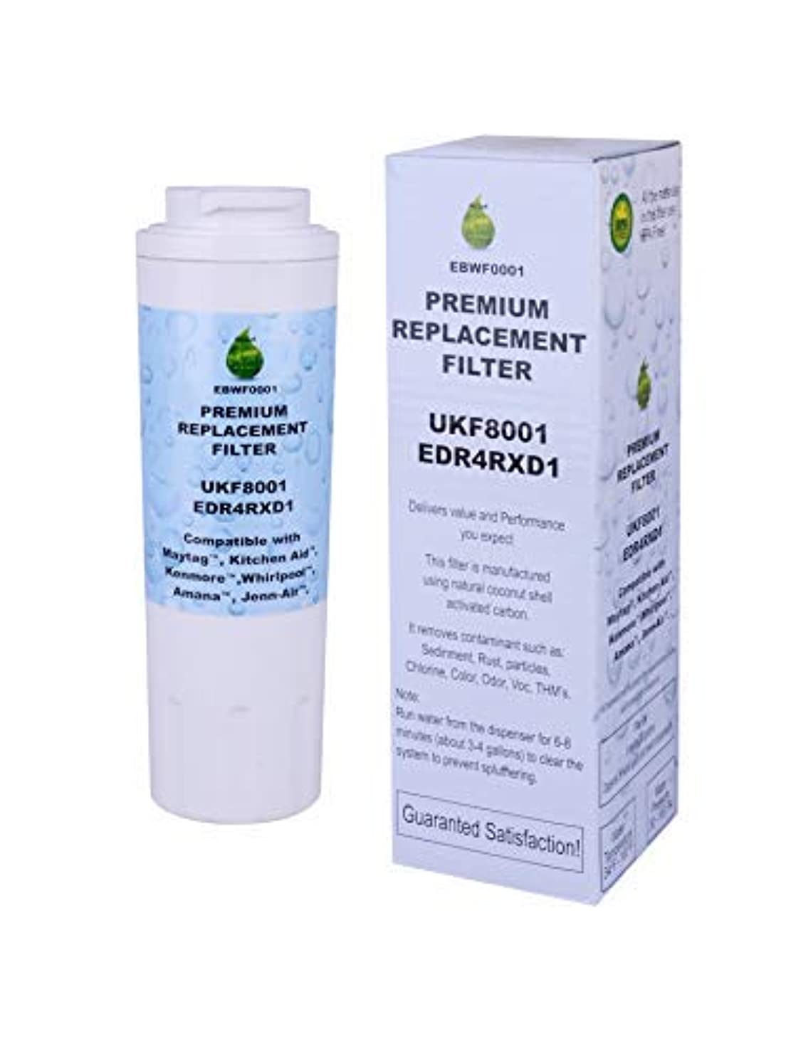 Pure earth UKF8001 Replacement by Compatible With Refrigerator Water Filter Whirlpool 4396395, EDR4RXD1, Kenmore46-9006, Maytag UKF8001, UKF8001AXX, Amana, Kitchenaid, Everydrop filter4, Puriclean II