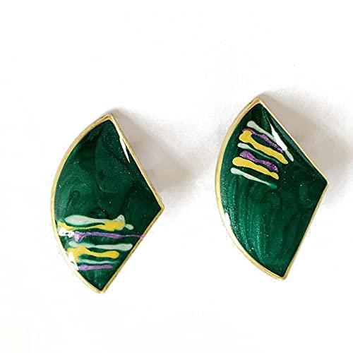 Orecchini A Clip con Smalto Verde A Ventaglio Graffiti Stile Vintage Accessori per Feste da Viaggio Vintage Clip su Orecchini Senza Piercing Piercing