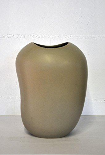 GILDE Vase Keramik Taupe 30cm hoch 33623 Dekoidee Geschenkidee Wohnung Vase Bodenvase Tischdeko Vase steinoptik Hochzeit