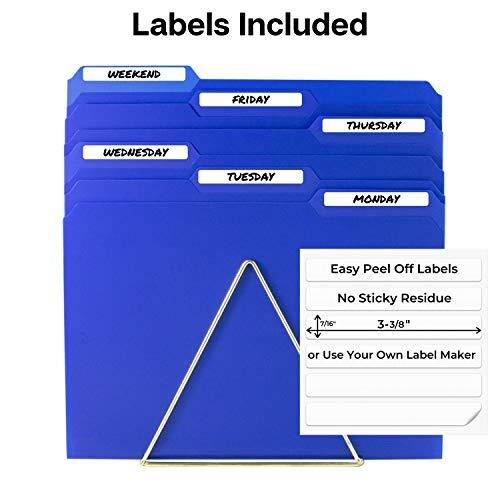 Dunwell Plastic Blue File Folders - (12 Pack of Folders), 3 Tab Folders Plus Removable Labels, Letter Size, Plastic File Folders Colored, 1/3-Cut Tabs, Poly Folders, More Durable Than Manila Folders Photo #4