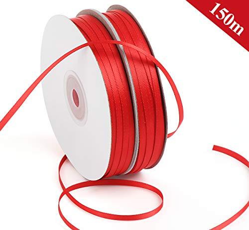 ABSOFINE Satinband 150M Doppelsatinband Rot 3mm Schleifenband Geschenkband Hochzeit Dekoband Geschenkband Antennenband