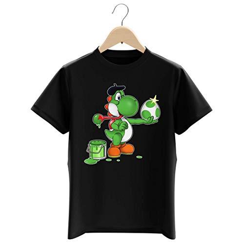OKIWOKI Maglietta Nera per Bambini e Ragazzi Parodia Yoshi - Yoshi Verde - (T-Shirt di qualità Premium in Taglia 3-4 Anni - Stampata in Francia - RIF : 545)