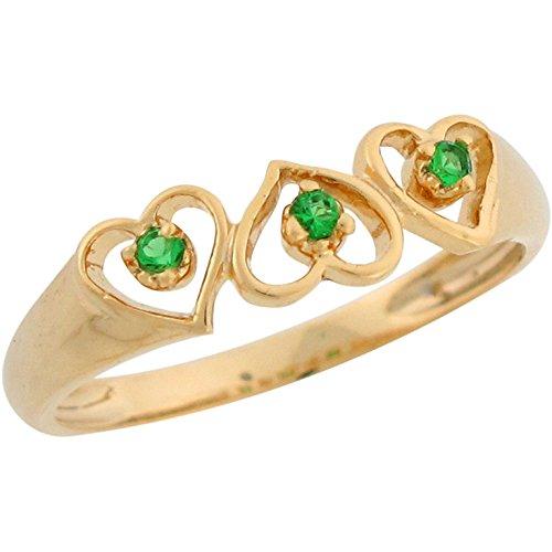 Jewelry Liquidation 14k Yellow Gold Three Stone Simulated Emerald in...