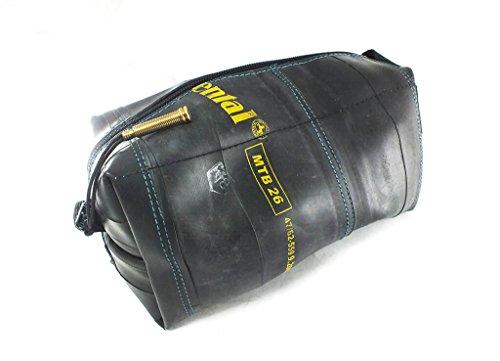 KULTURBEUTEL VEGAN in Vielen Farben | Kosmetiktasche | Hängende Tasche | aus Umweltfreundlichem Recyceltem Fahrradschlauch | Extra Weich (Blau/Blue, Groß/Large)