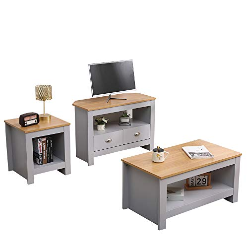 CF Furniture Living Room 3 Piece Set Lamp Table Coffee Table TV Stand Modern Simple Practical Grey+Oak