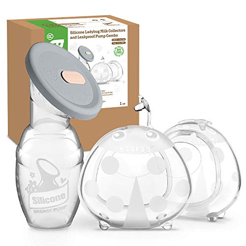 Haakaa Manual Breast Pump with Silicone Lid and Breast Shells Combo for Breastfeeding Milk Saver Silicone Nursing Cups