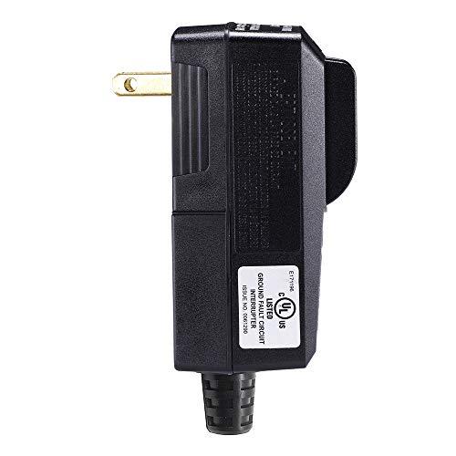 Preisvergleich Produktbild WELLONG GFCI-Stecker Ersatz 2 Zinken Elektrische Kabel Endstecker GFI wasserdicht Stromschutzschalter 15 Amp schwarz