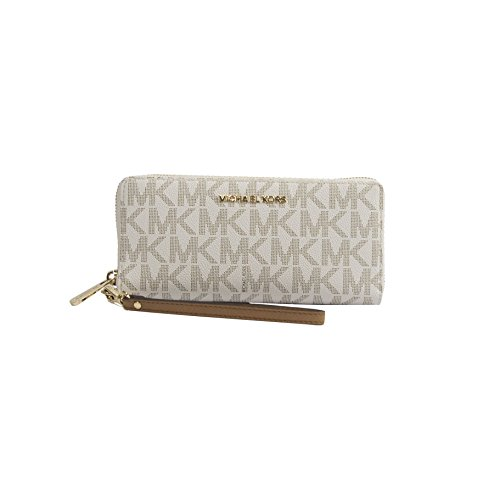 MICHAEL Michael Kors Women's Vanilla Monogram Acorn Leather Large Zip Around Travel Wallet