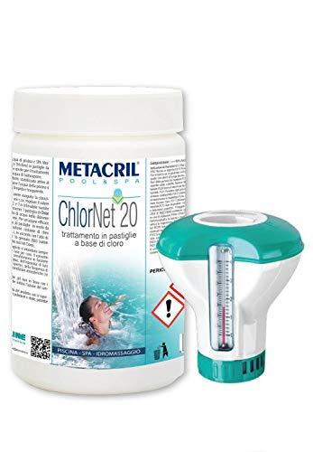 Metacril CHLOR Net 20 (1 kg) + Dosatore Galleggiante Cloro Pastiglie Piscina da 20gr per Piscina e idromassaggio (Jacuzzi,Teuco,Dimhora,Index,Bestway,ECC.) Spedizione IMMEDIATA