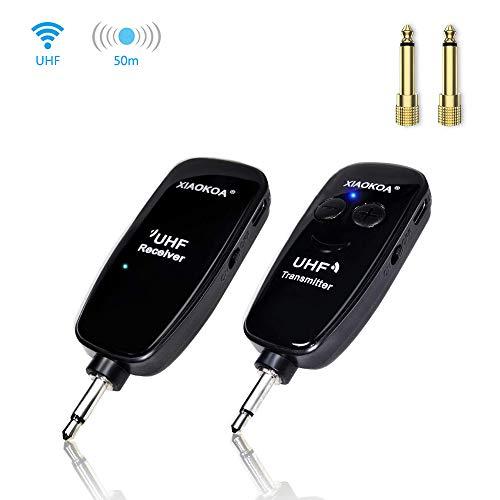 XIAOKOA UHF Senza fili Trasmettitore e Ricevitore,Chitarra Elettrica Wireless Trasmettitore e Ricevitore Audio,Trasmissione Wireless di 50 Metri,per Chitarra Elettrica/Basso/Piano Elettronico