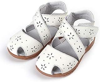 Girls White 'Wrap Around' Leather Sandal