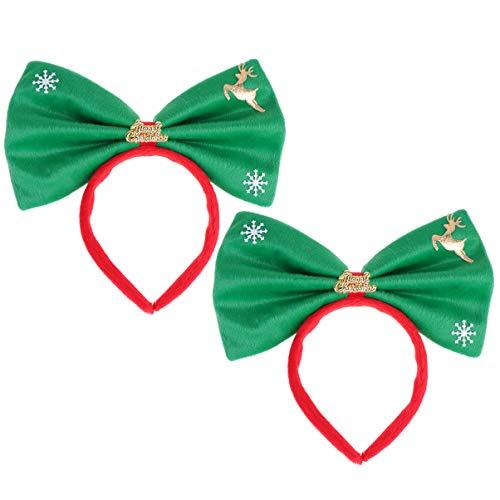 Lurrose 2 stuks boog hoofdband grote bowknot kerst hoofdband charming xmas party haaraccessoires voor vrouwen meisjes (rode sneeuwvlok) 23 * 21 cm Groene heren.