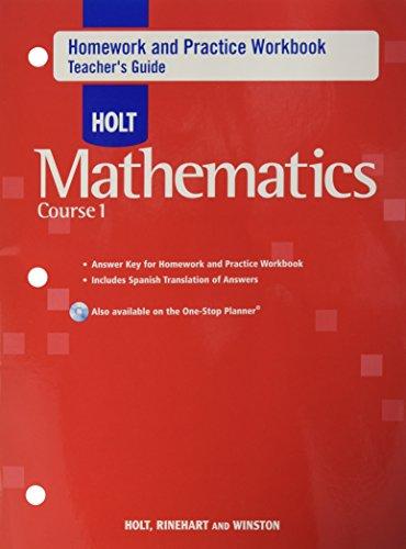 Holt Mathematics: Teacher Homework Practice Workbook Course 1