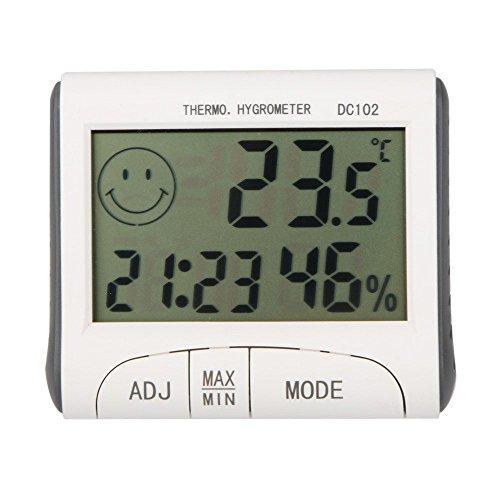 Gellvann LCD Raumthermometer Mini LCD Digital Indoor Thermometer Hygrometer Temperatur Feuchtigkeitsmesser Uhr Schreibtisch Wetterstation mit Magnet Stand