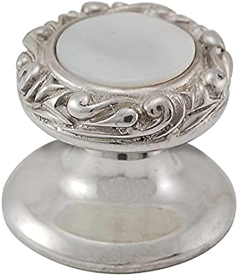 Vicenza Designs K1150 Gioiello  Round  Stone Insert  Style 4  Knob Small Antique Silver Mother of Pearl