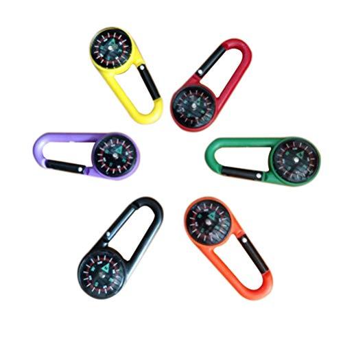 STOBOK Kompass Keychain Kompass Karabiner Mini Überleben Kompass Schlüsselbund Bunte Tasche Anhänger Geschenk 24Pcs für Sommer Outdoor Camping Zubehör Zufällig Farbe