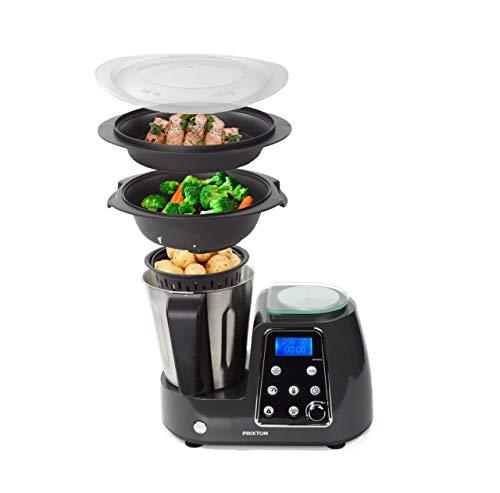 PRIXTON Kitchen Gourmet KG200 - Robot de Cocina Multifunción Programable con Accesorios, Acero Inoxidable (Reacondicionado)