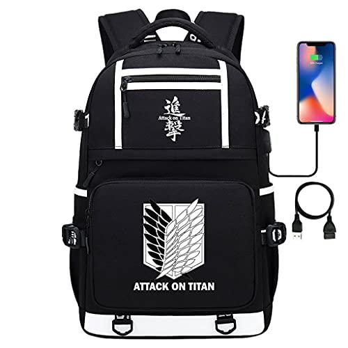 Anime Attack on Titan Rucksack Schule Levi Ackermann Cosplay Rucksack mit USB Ladeanschluss AOT Aufklärungstrupp Daypack Shingeki No Kyojin Backpack Schulranzen Schultasche Rucksäcke (19,48*30*15cm)